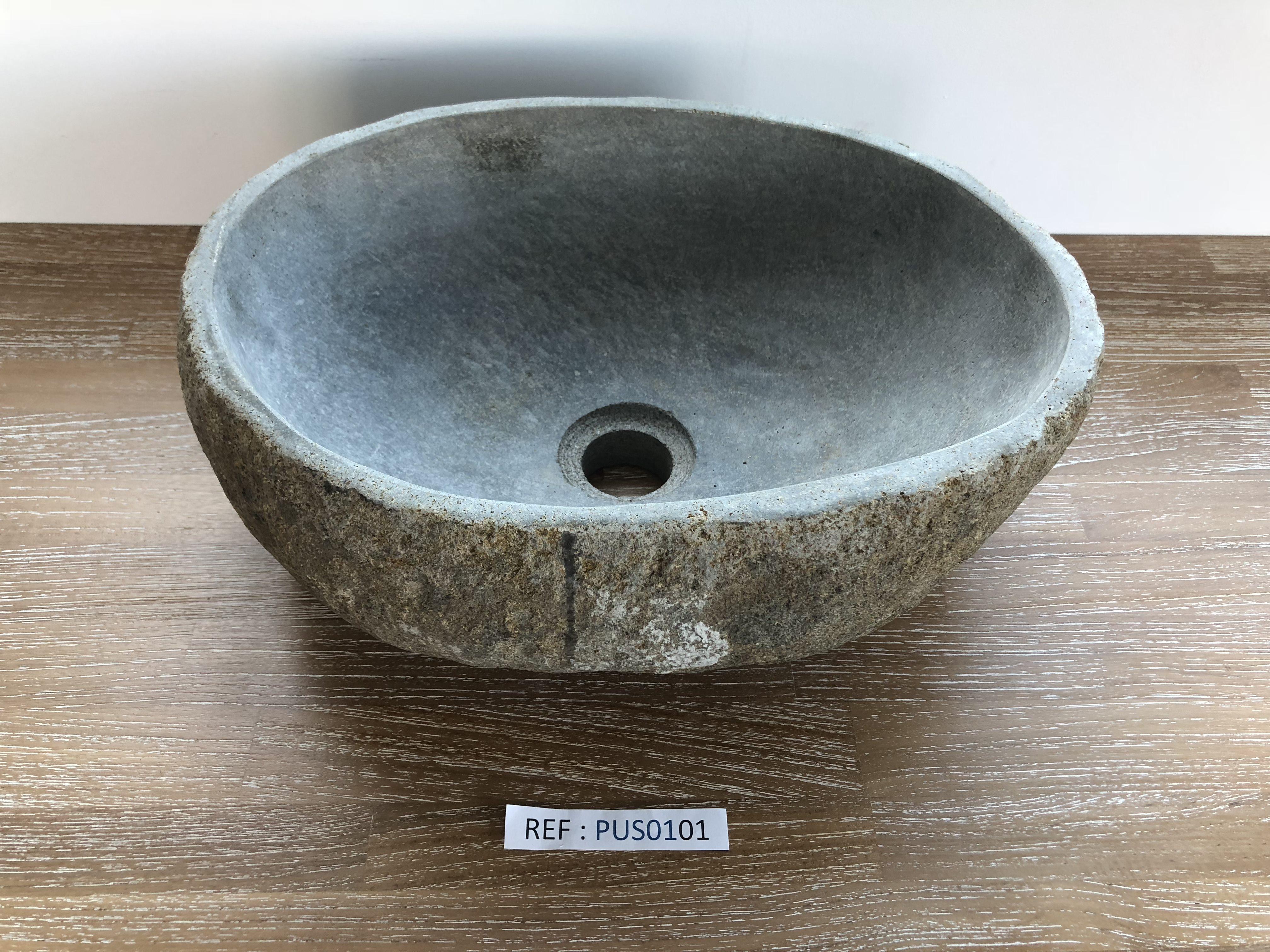vasque en pierre pas cher PUS0101 (Hauteur 14 cm - Largeur 38 cm - Profondeur 28 cm)