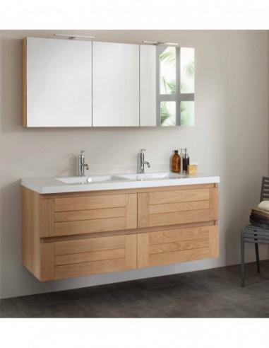 Meuble 140 Cm 2 Vasques Table Blanche Armoire De Toilette Bois Massif Lignum Sanijura