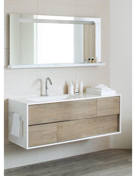 Meuble 140 cm 1 vasque à gauche côtés Laqué et façade Bois + miroir ...