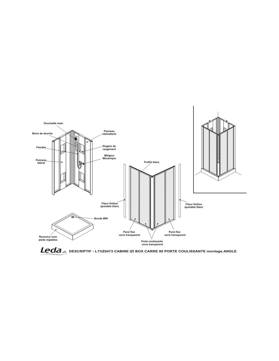 cabine de douche izibox carr portes coulissantes leda. Black Bedroom Furniture Sets. Home Design Ideas