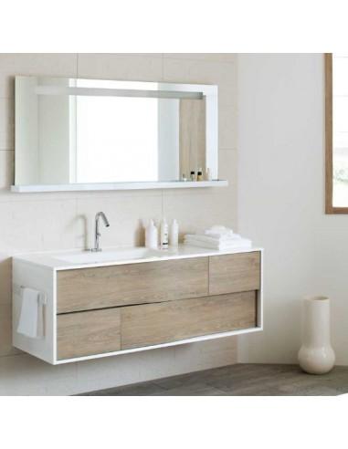 Meuble 100 cm 1 vasque + miroir tout décor Bois chêne Québec MY LODGE  Sanijura