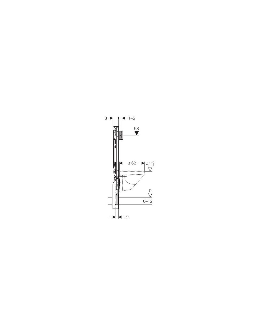 Largeur Wc Suspendu Geberit bâti-support duofix sigma 8cm (up720) extra-plat extensible