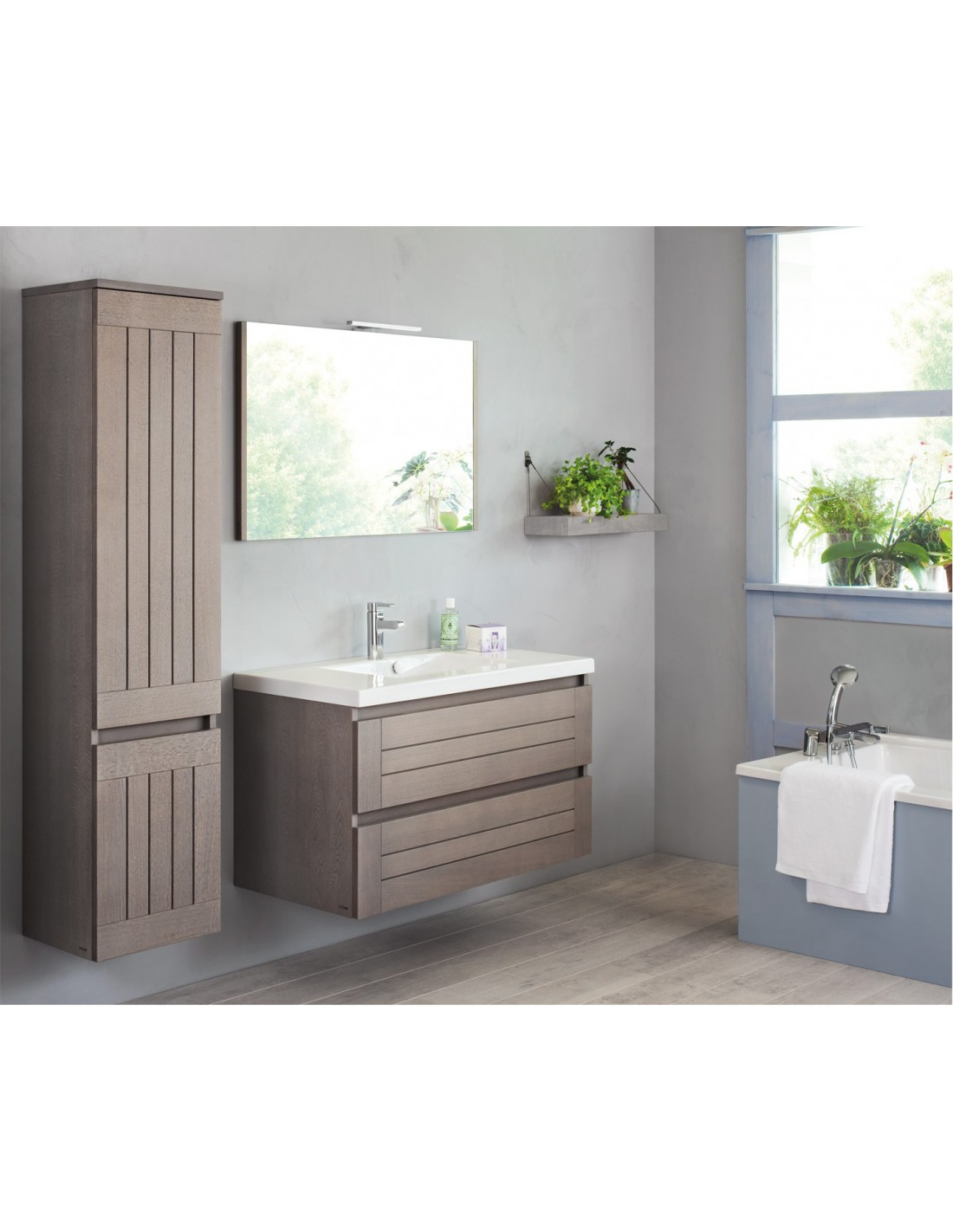 meuble 105 cm 1 vasque table noire miroir bois massif lignum sanijura. Black Bedroom Furniture Sets. Home Design Ideas