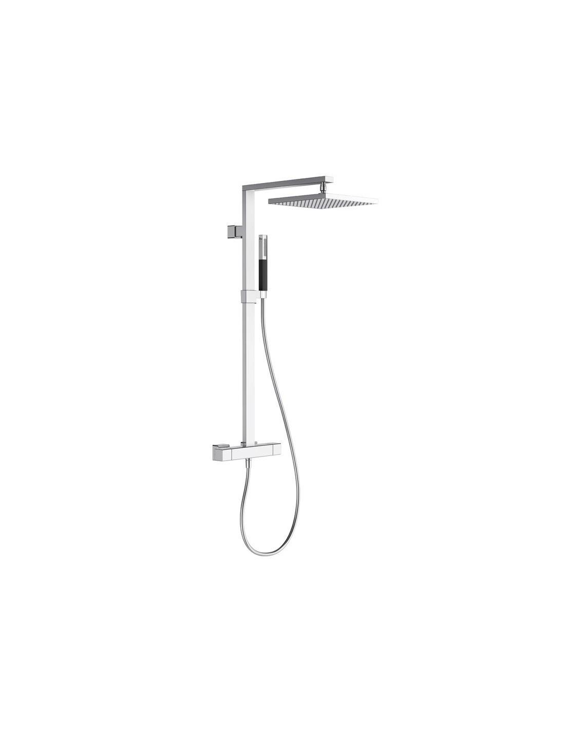 Colonne de douche avec mitigeur thermostatique et douche de t te carr e strayt jacob delafon - Mitigeur douche pas cher ...