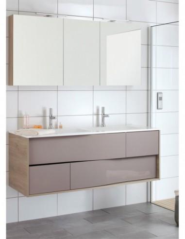 Meuble 140 cm 2 vasques côtés Laqué et façade Bois + miroir MY LODGE  Sanijura