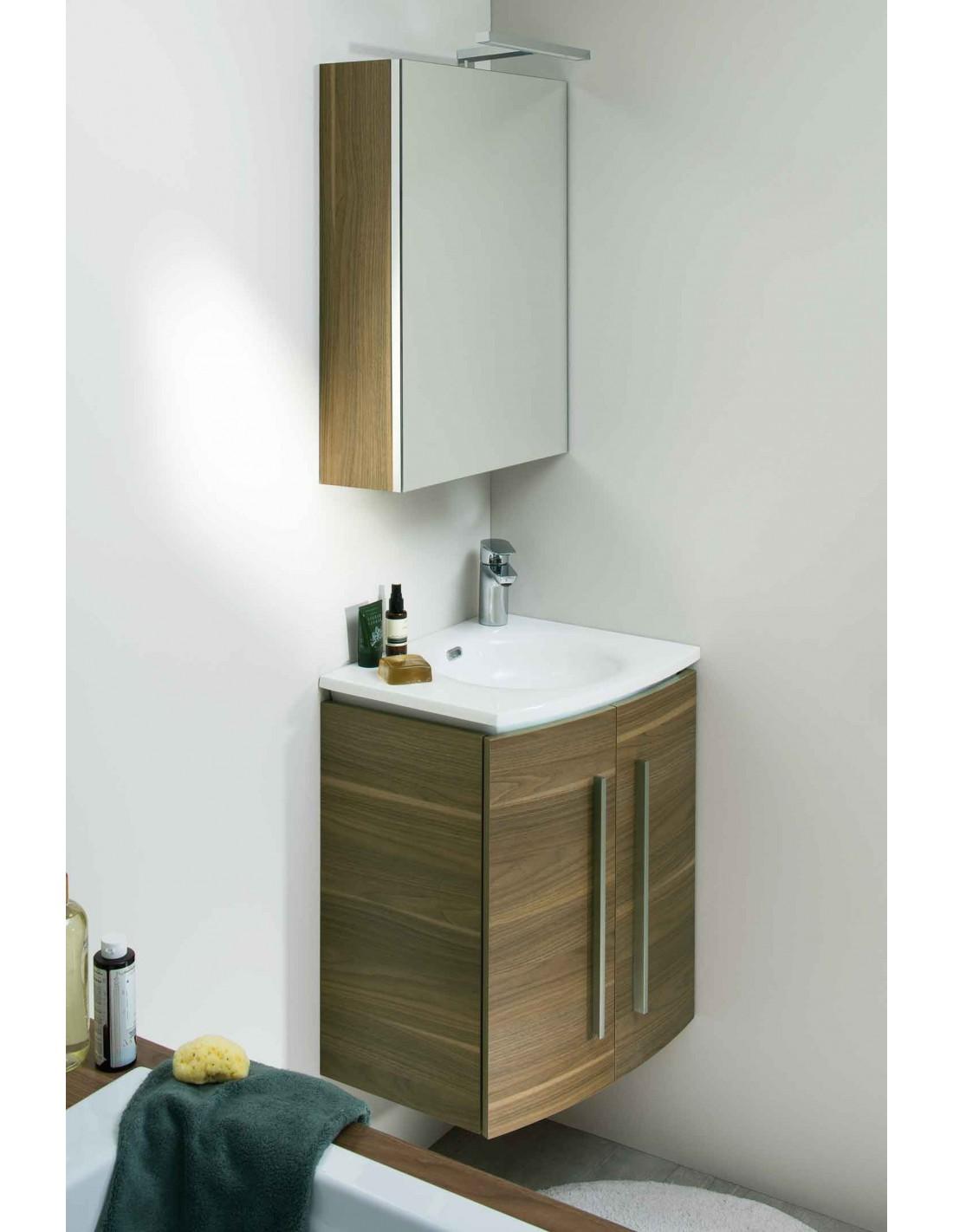ensemble meuble vasque gauche m lamin 50cm armoire de toilette soon sanijura. Black Bedroom Furniture Sets. Home Design Ideas