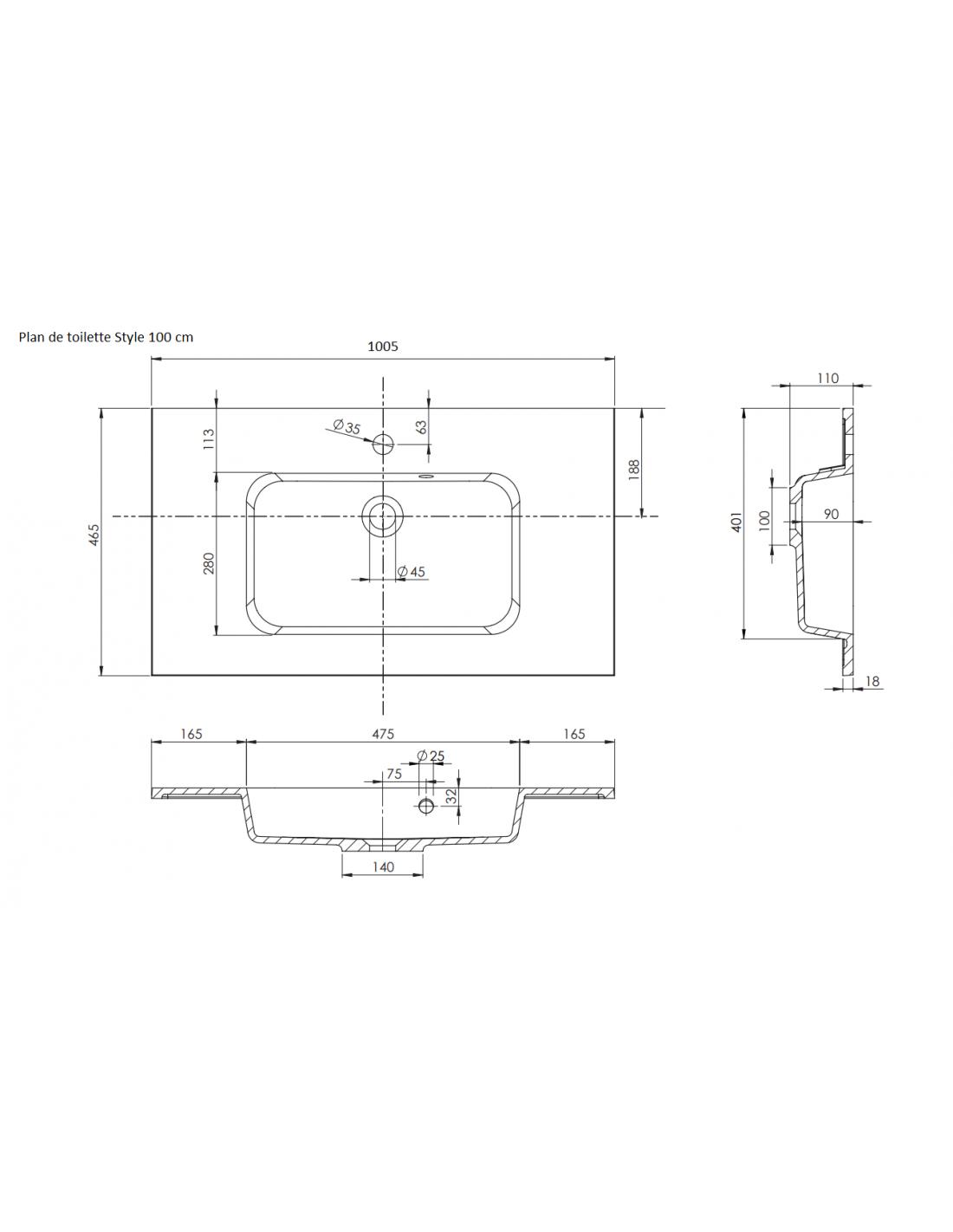 Hauteur Armoire De Toilette ensemble meuble vasque 100 cm aston (ensemble 2) allibert