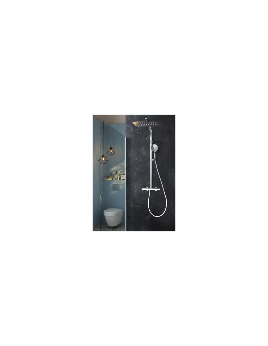 Colonne de douche avec mitigeur thermostatique et douche de t te rectangulaire oblo design jacob - Mitigeur douche pas cher ...