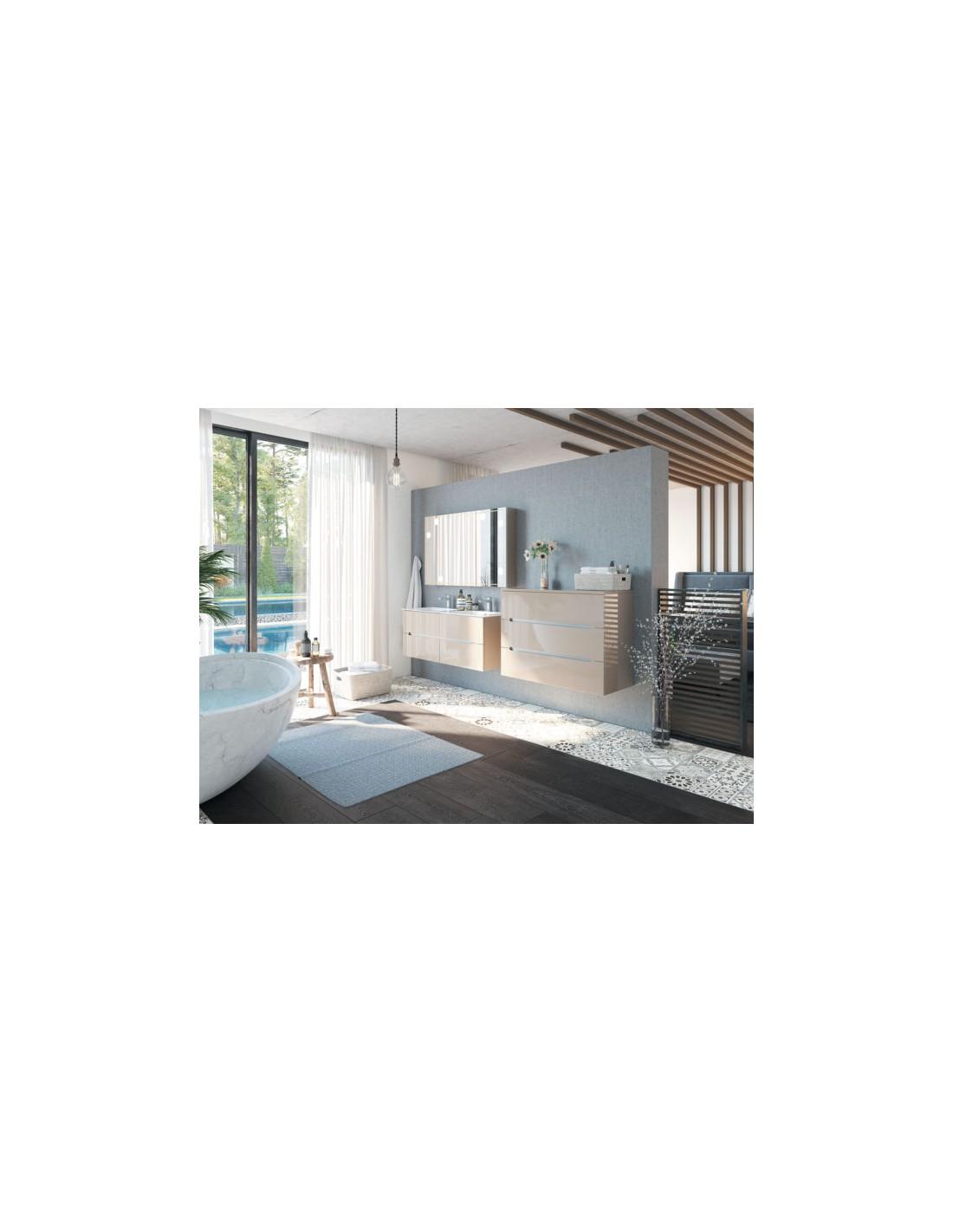 meuble sous plan vasque bento 3 tiroirs sans poign e decotec. Black Bedroom Furniture Sets. Home Design Ideas
